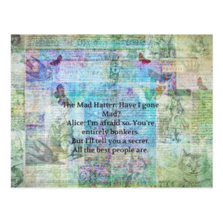 Alice in Wonderland Whimsical Bonkers Quote Postcard