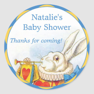 Alice in Wonderland White Rabbit Baby Shower Favor Classic Round Sticker