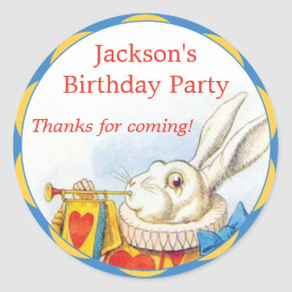Alice in Wonderland White Rabbit Birthday Favor Classic Round Sticker