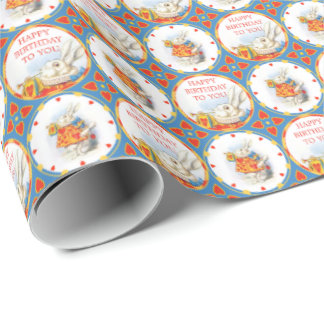 Alice in Wonderland White Rabbit Birthday Red Wrapping Paper