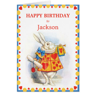 Alice in Wonderland White Rabbit Custom Birthday Card