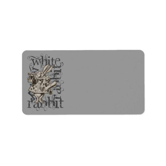 Alice In Wonderland White Rabbit Grunge Label