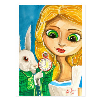 ALICE IN WONDERLAND WHITE RABBIT POSTCARD