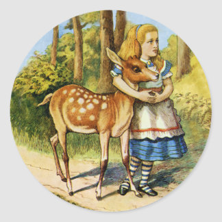 Alice in Wonderland with a Young Deer Round Sticker