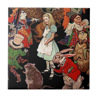 Alice in Wonderland with Friends Illustration Ceramic Tiles