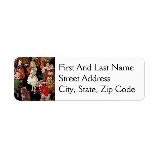 Alice in Wonderland with Friends Illustration Return Address Label