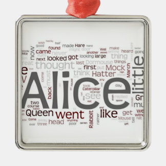 Alice in Wonderland Word Art Metal Ornament