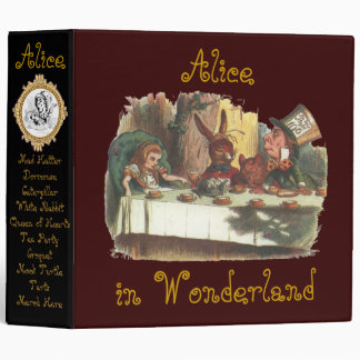 Alice in Wonderland Words on Back Spill Over 3 Ring Binders