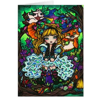 """""""Alice Lost"""" Alice in Wonderland Cheshire Cat Card"""