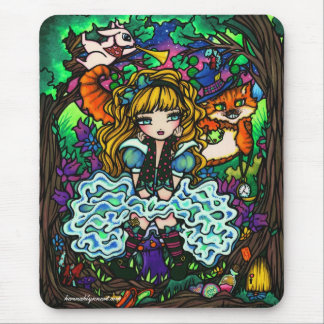 """Alice Lost"" Alice in Wonderland Cheshire Cat Mouse Pad"