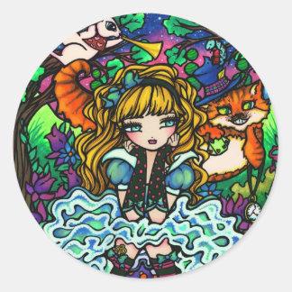 """""""Alice Lost"""" Alice in Wonderland Cheshire Cat Round Sticker"""