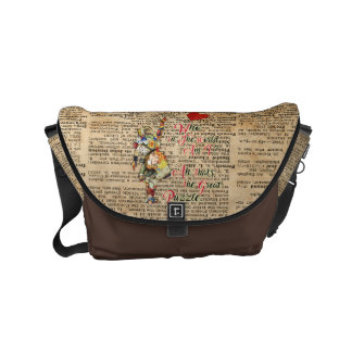 Alice,Mad Hatter &Rabbit Vintage Collage Quote Courier Bag