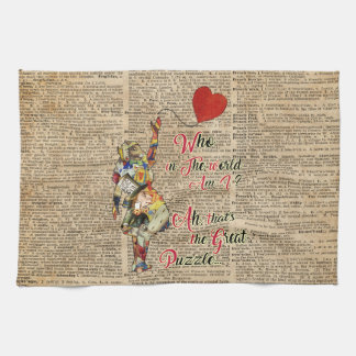 Alice,Mad Hatter &Rabbit Vintage Collage Quote Kitchen Towel