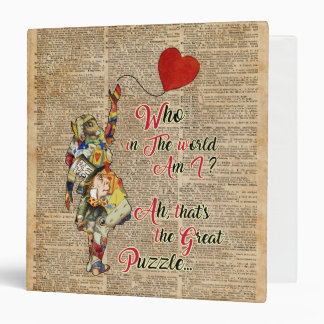 Alice,Mad Hatter &Rabbit Vintage Collage Quote Vinyl Binder