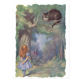 Alice meets Cheshire Cat Postcard