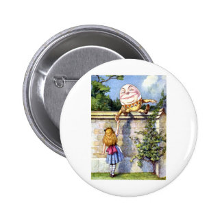 ALICE MEETS HUMPTY DUMPTY 2 INCH ROUND BUTTON