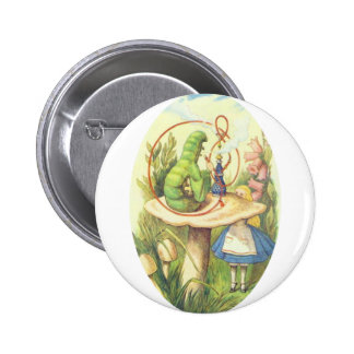 Alice Meets the Caterpillar 2 Inch Round Button