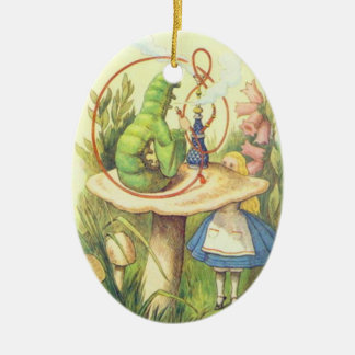 Alice Meets the Caterpillar Ceramic Ornament