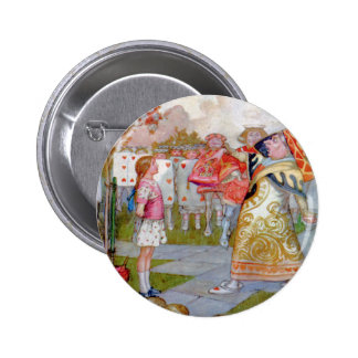 ALICE  MEETS THE QUEEN OF HEARTS 2 INCH ROUND BUTTON