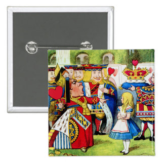 Alice Meets the Queen of Hearts in Wonderland Buttons
