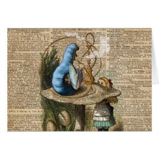 Alice,Mushroom and Jin,Vintage Dictionary Art Card