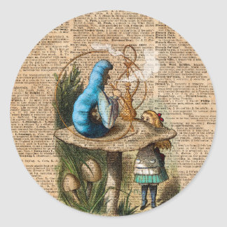 Alice,Mushroom and Jin,Vintage Dictionary Art Classic Round Sticker