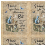 Alice,Mushroom and Jin,Vintage Dictionary Art Fabric