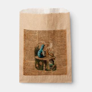 Alice,Mushroom and Jin,Vintage Dictionary Art Favour Bag