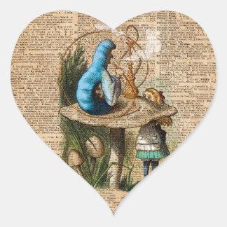 Alice,Mushroom and Jin,Vintage Dictionary Art Heart Sticker