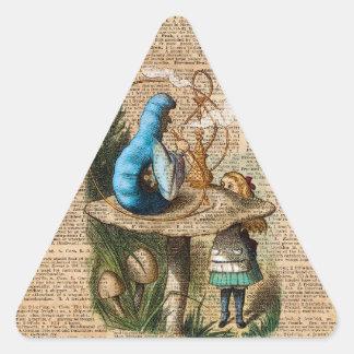 Alice,Mushroom and Jin,Vintage Dictionary Art Triangle Sticker
