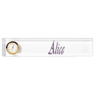 Alice, Name, Logo, Desk Nameplate With Clock.