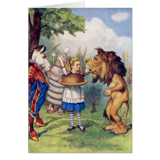 Alice Offers Cake to The Lion and The Unicorn Card