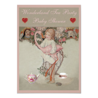 Alice & Pink Flamingo Baby Shower Tea Party Card