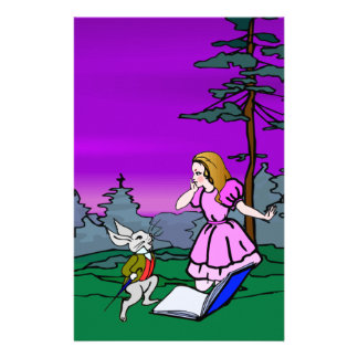Alice & Rabbit In Wonderland Forest Stationery
