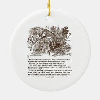 Alice Red Queen Running To Stay In Same Place Round Ceramic Ornament