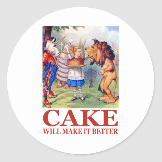 "Alice says,  ""Cake will make it better!"" Classic Round Sticker"