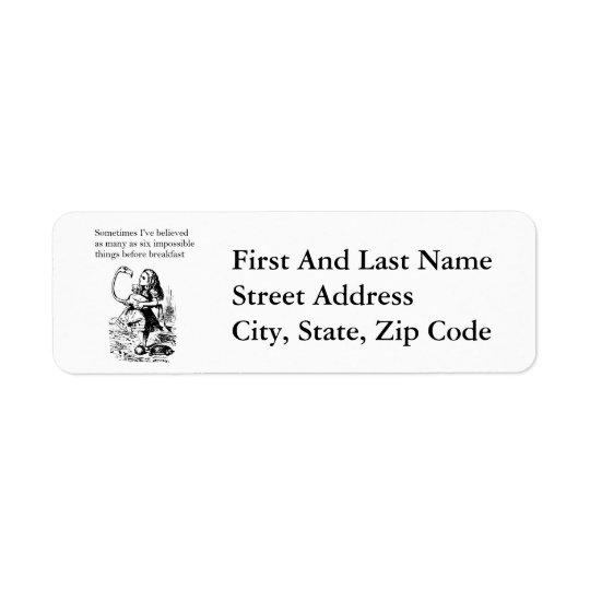 Alice, Six Impossible Things Return Address Label