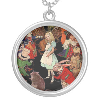 Alice Surrounded By Friends Silver Plated Necklace