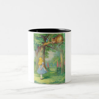 Alice & the Cheshire Cat Color Two-Tone Coffee Mug