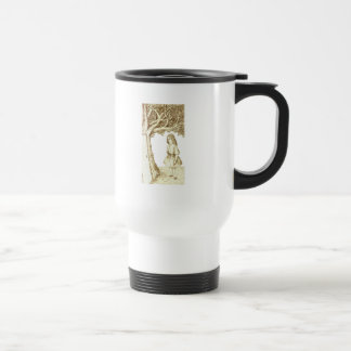 Alice & the Door by Lewis Carroll Sepia Pink Travel Mug