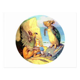 Alice, the Griffin & the Mock Turtle in Wonderland Postcard