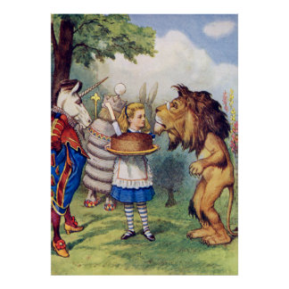 Alice, The Lion and the Unicorn in Wonderaland Poster