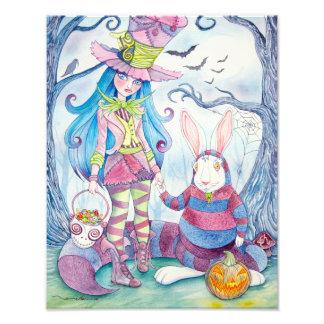 """Alice & the White Rabbit Halloween"" Photo Print"