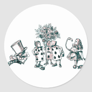 Alice & the Wonderland Gang in Pink Tint Classic Round Sticker