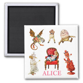 Alice Through The Looking Glass Square Magnet