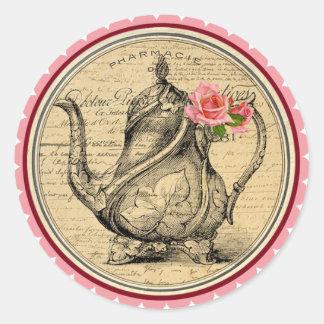 Alice vintage dans des autocollants de thé du pays
