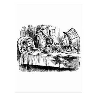 Alice, White Rabbit, Tea Party Postcard