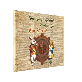 Alice & White Rabbit Vintage Dictionary Art Quote Canvas Print