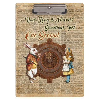 Alice & White Rabbit Vintage Dictionary Art Quote Clipboard