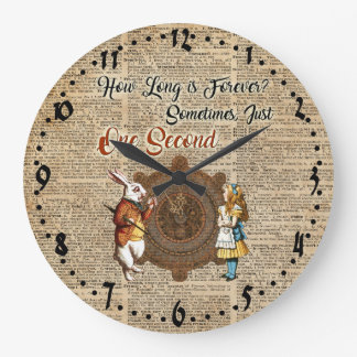Alice & White Rabbit Vintage Dictionary Art Quote Large Clock